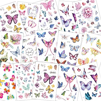 SZSMART 100+ Mariposas Tatuajes Temporales, Falso Tatuajes Pegatinas para Niñas Fiestas Infantiles cumpleaños de niños Regalo Mariposa Flor