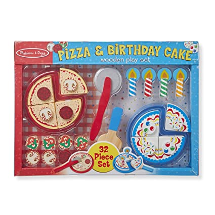 Amazon Com Melissa Doug Wooden Pizza And Cake Play Set