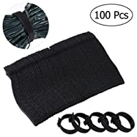 OUNONA 100 pcs 6 Inch Cable Ties Hook and Loop Straps for Organizer Fastening (Black)