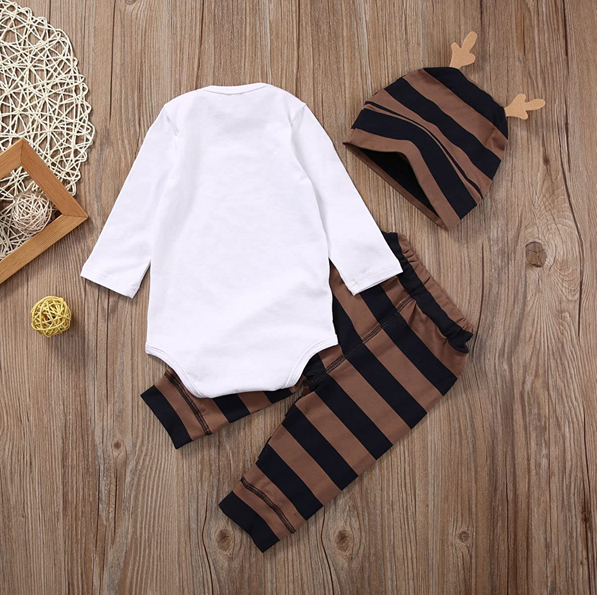 Newborn Infant Baby Girls Funny Clothes 3Pcs Little Moose Romper+Pants+Hat Cute Outfit Set Autumn Winter