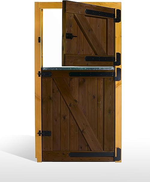 ESTRUCMADER - Puerta Partida en 2 Hojas para Box de Caballo. Mod. Pre 100x210, Roble/Cerezo/Nogal/Natural: Amazon.es: Jardín