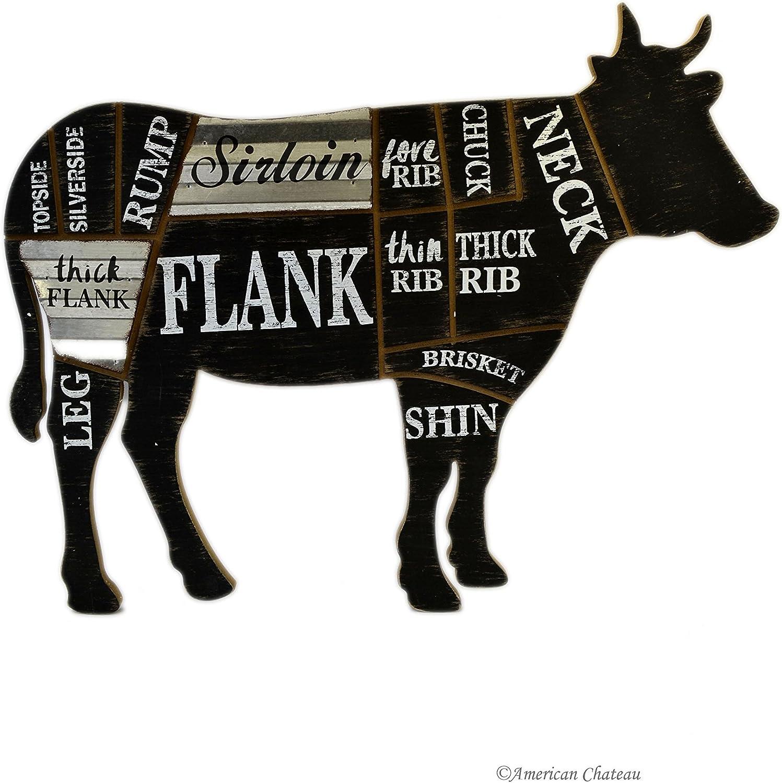 Butcher/'s Beef Cut Diagram Farmhouse Style Kitchen Sign Metal Butcher Sign