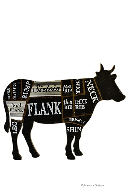 23 Large Woodmetal Butcher Black Sign Cow Cuts Of Beef Wall Art