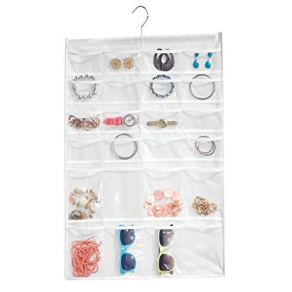 Amazoncom mDesign 48 Pocket Hanging Jewelry Organizer Storage Bag
