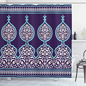 Moroccan Shower Curtain Bohemian Style Middle Eastern Turkish Mystical Image Print Cloth Fabric Bathroom Decor Set with Hooks 72