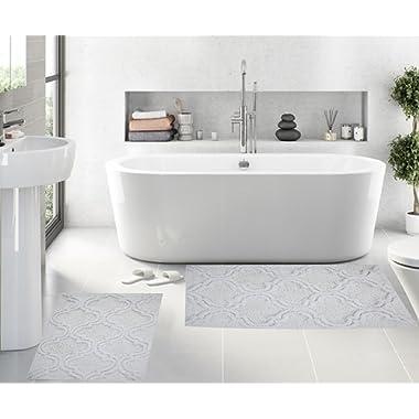 Queenzliving Set of 2 Bath Rugs - 100% Cotton 17  x 24  Trellis Design Bathmat (White)