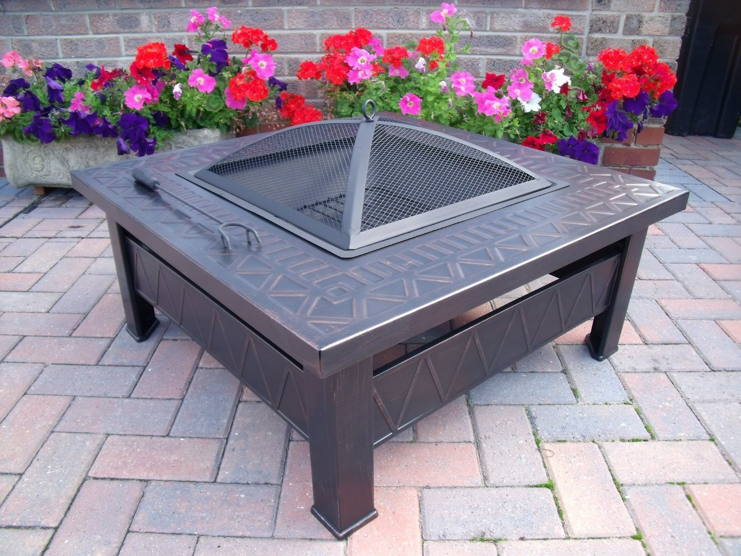 Garden Patio Fire Pit Decking Heater Metal Firepit Brazier Barbecue Table  A: Amazon.co.uk: Garden U0026 Outdoors