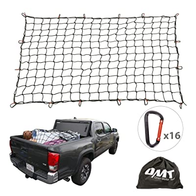 "Cargo Nets for Pickup Trucks, 4'X6' Latex Cargo Net Stretches to 8'x12', Universal Heavy Duty Truck Bed Net,16 Tangle-Free D Clip Carabiners, 4""x4"" Mesh Holds Small Large Loads Tighter: Automotive"