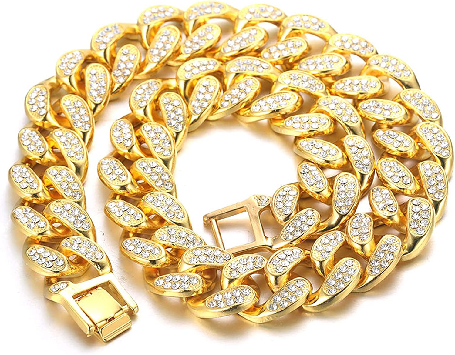 Halukakah Cuban Link Chain for Men Iced Out,15MM//20MM Mens Gold Chain Miami 18k Real Gold Plated//Platinum White Gold Finish Choker Necklace Bracelet,Full Cz Diamond Cut Prong Set,Gift for Him