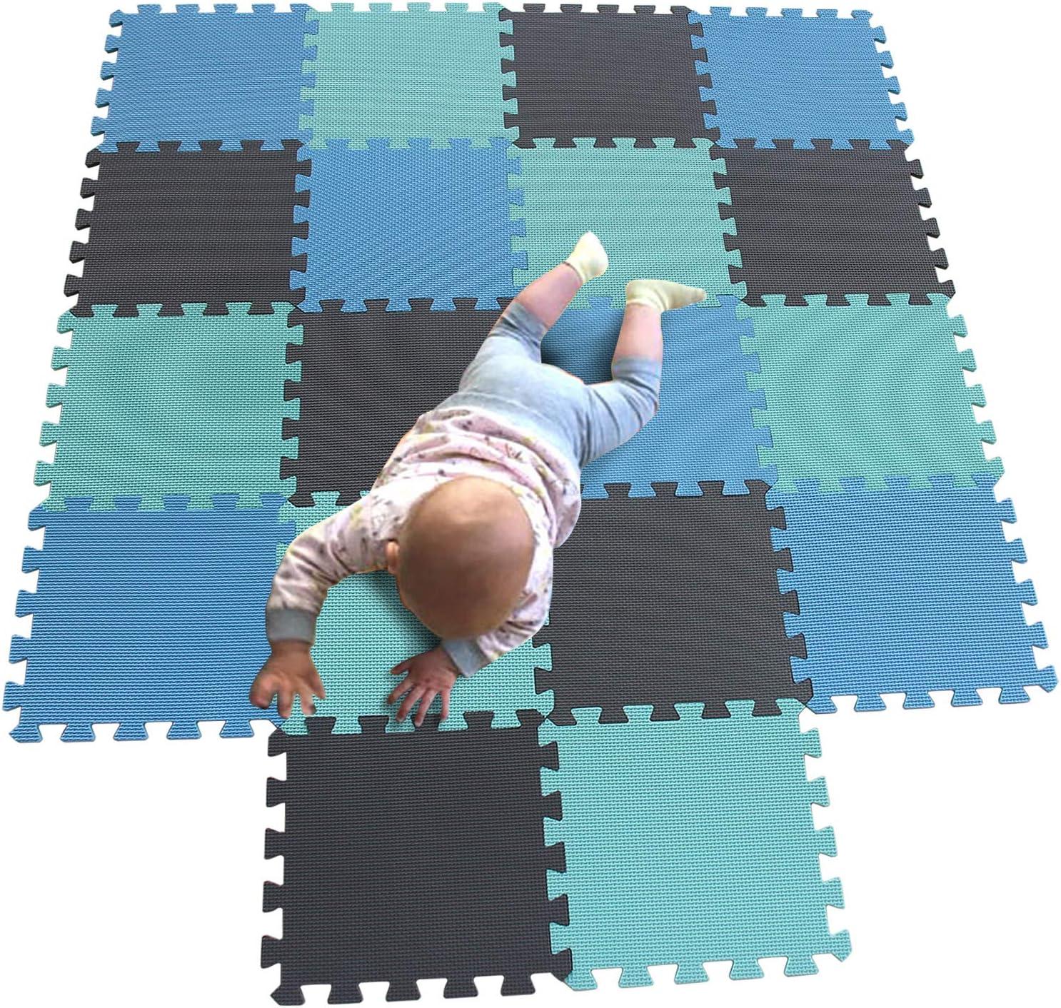 MQIAOHAM Esterilla Puzzle de Fitness-18 losas de EVA Espuma Alfombrilla Protección para el Suelo para máquinas Deporte y gimnasios sobre el Piso Fácil de Limpiar Azul Verde Gris 107108112