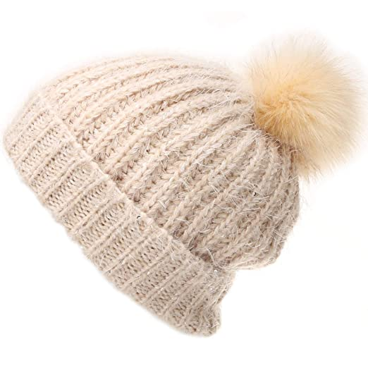 01c84cf9998 MIRMARU Women s Soft Chunky Scattered Sequin Fuzzy Cable Knit Faux Pom Pom  Beanie hat with Sherpa