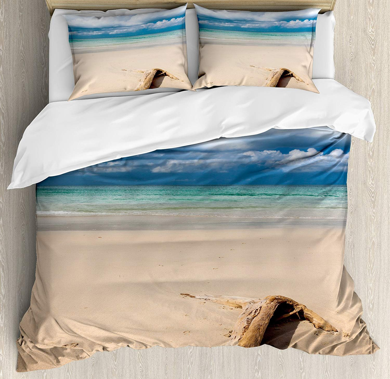 Driftwood Bedding Duvet Cover Sets for Children/Adult/Kids/Teens Twin Size, Sea Theme Driftwood on the Sandy Beach and Cloudy Sky Digital Style Print, Hotel Luxury Decorative 4pcs Set, Sand Brown Blue