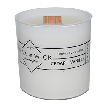 Scented Soy Candle: 100% Pure Soy Wax with Wood Double Wick | Burns Cleanly up to 60 Hrs | Cedar + Vanilla Scent with Notes of Cedarwood and Vanilla. | 12 oz. White Jar by Wax and Wick
