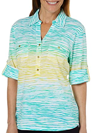 02c0f58f257a1d Cathy Daniels Womens Ombre Striped Roll Tab Top Small Blue/Green/Yellow at  Amazon Women's Clothing store:
