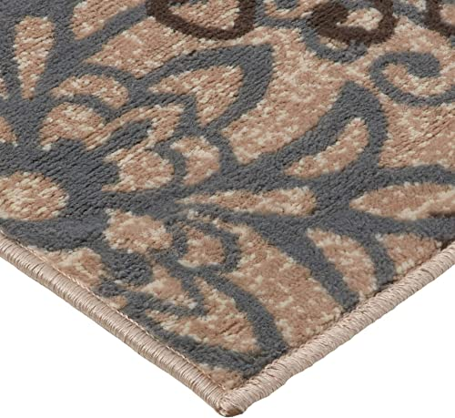Superior Elegant Leigh Collection Area Rug, 8mm Pile Height with Jute Backing, Chic Contemporary Floral Medallion Pattern, Anti-Static, Water-Repellent Rugs – Beige, 3 x 5 Rug