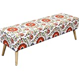 Otto & Ben 52-in EASY LIFT TOP Upholstered Ottman Storage Bench Long – Retro Floral feat. cushioned seating with hidden storage / pneumatic hinge / pre-drilled real wooden legs