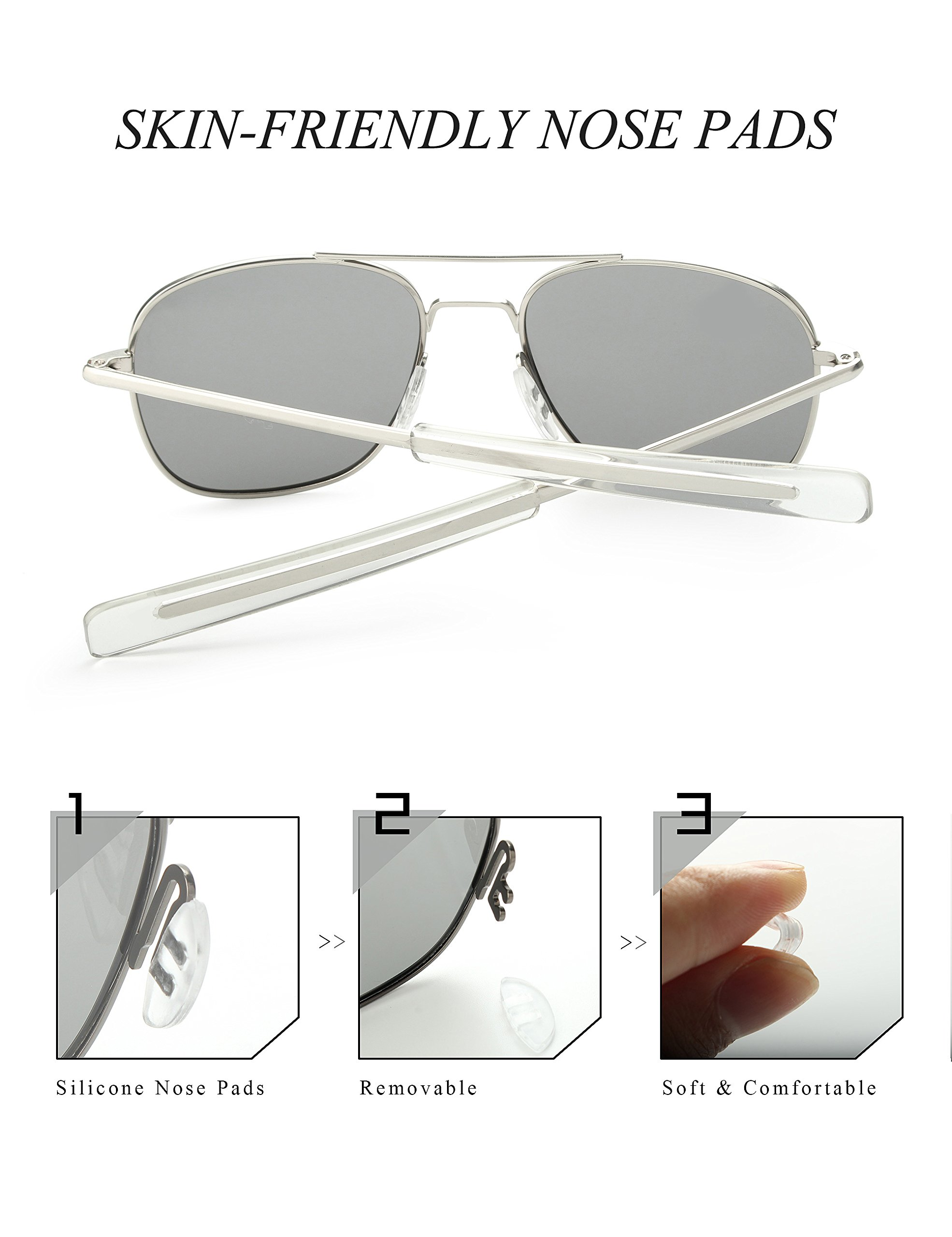 4429cf533fd WELUK Men s Pilot Aviator Sunglasses Polarized 55mm Military Style with Bayonet  Temples (Silver Grey