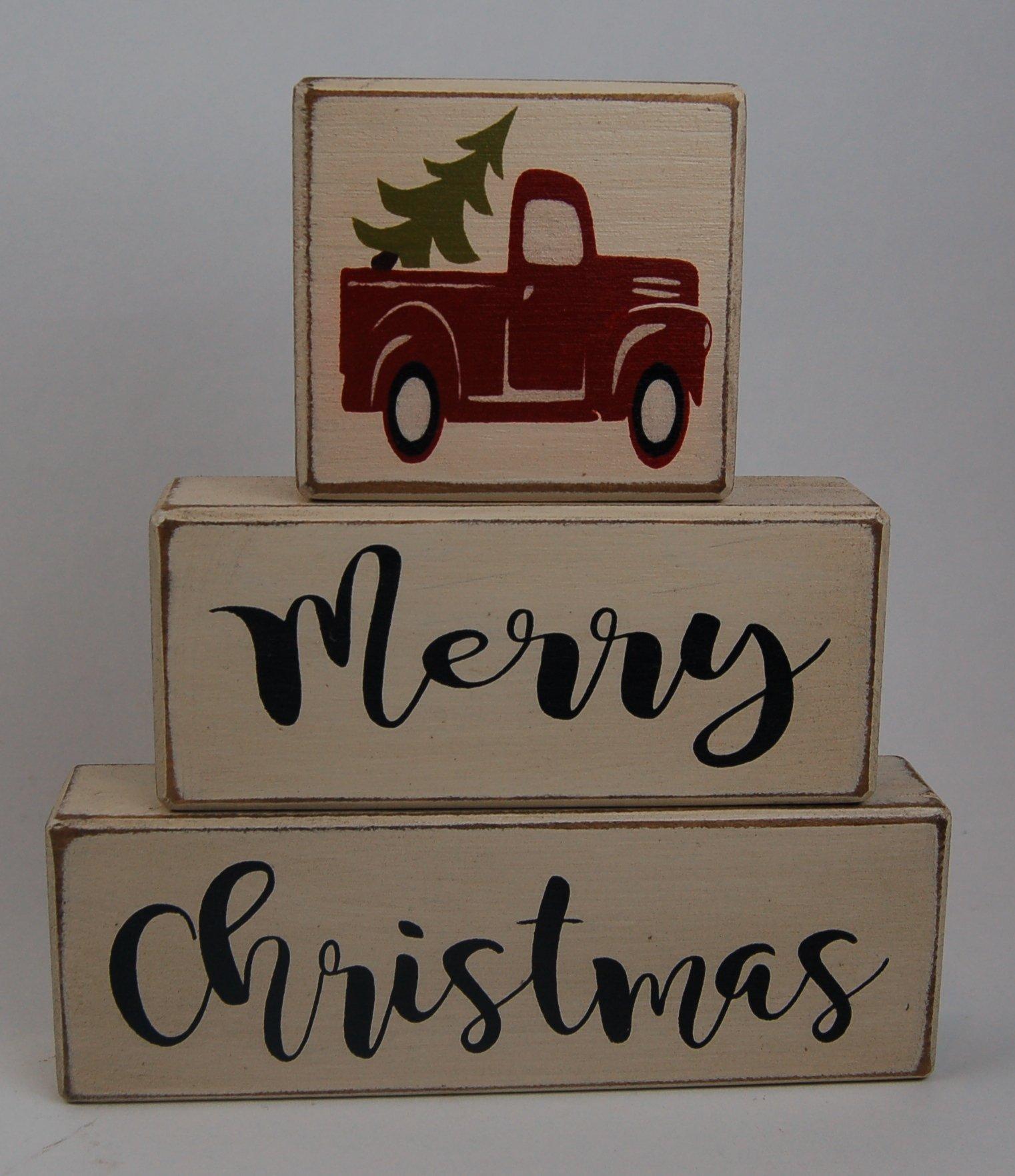 Ready to Ship! NEW Farmhouse Merry Christmas Vintage Truck Christmas Tree - Primitive Country Wood Stacking Sign Blocks Seasonal Christmas Winter Snowman Home Decor