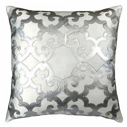 Amazon Edie 40x40 Applique Decorative Pillow Large White Custom Large White Decorative Pillows