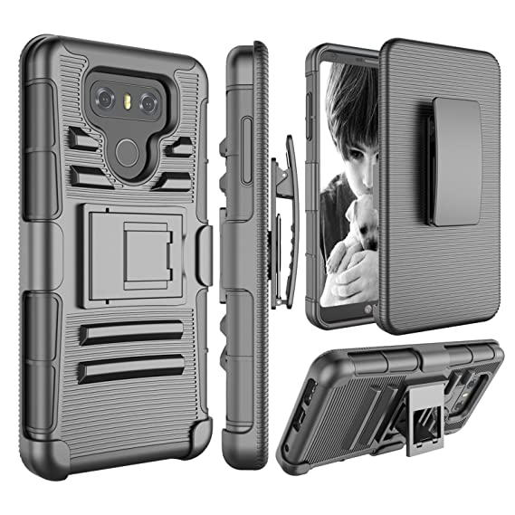 best sneakers 20e3b 267ef LG G6 Case, Jeylly [Armor Shield] Hybrid Impact Protection Heavy Duty Full  Body Dual Layer Tough Rugged [Belt Swivel Clip] Holster with Kickstand ...