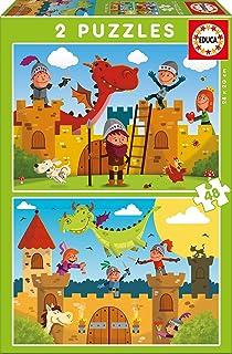 Educa Borrás - Dragones y Caballeros, 2 Puzzles de 48 Piezas (17151)