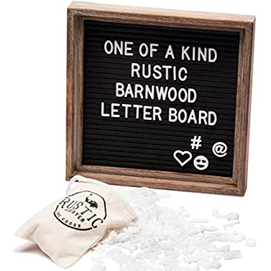 Premium Black Felt Letter Board Set with Rustic Barnwood Frame 10 x10  Farmhouse Inspired Baby Announcement Board | 340 Letter Set, Emojis, Wall Hook, Stand and Bag