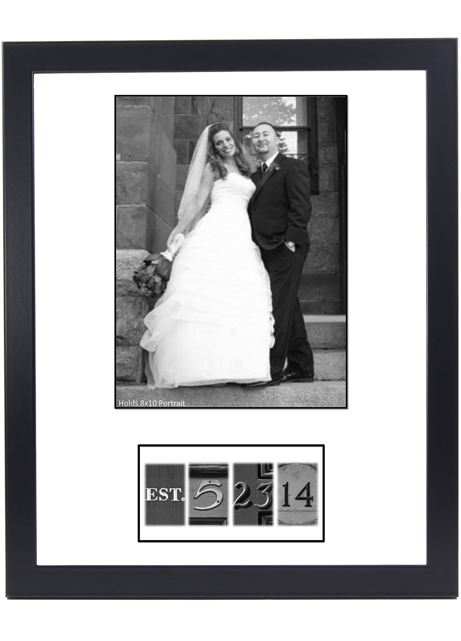 Dated Bride & Groom 8 by 10 inch Portrait Guest Book with DIY Unique Personalized Black & White Number Photographs, Cut and Tape- Including our 16 by 20 inch Frame w/ Hanger