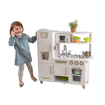 KidKraft 53208 Cocina de juguete vintage de madera color blanco con ...
