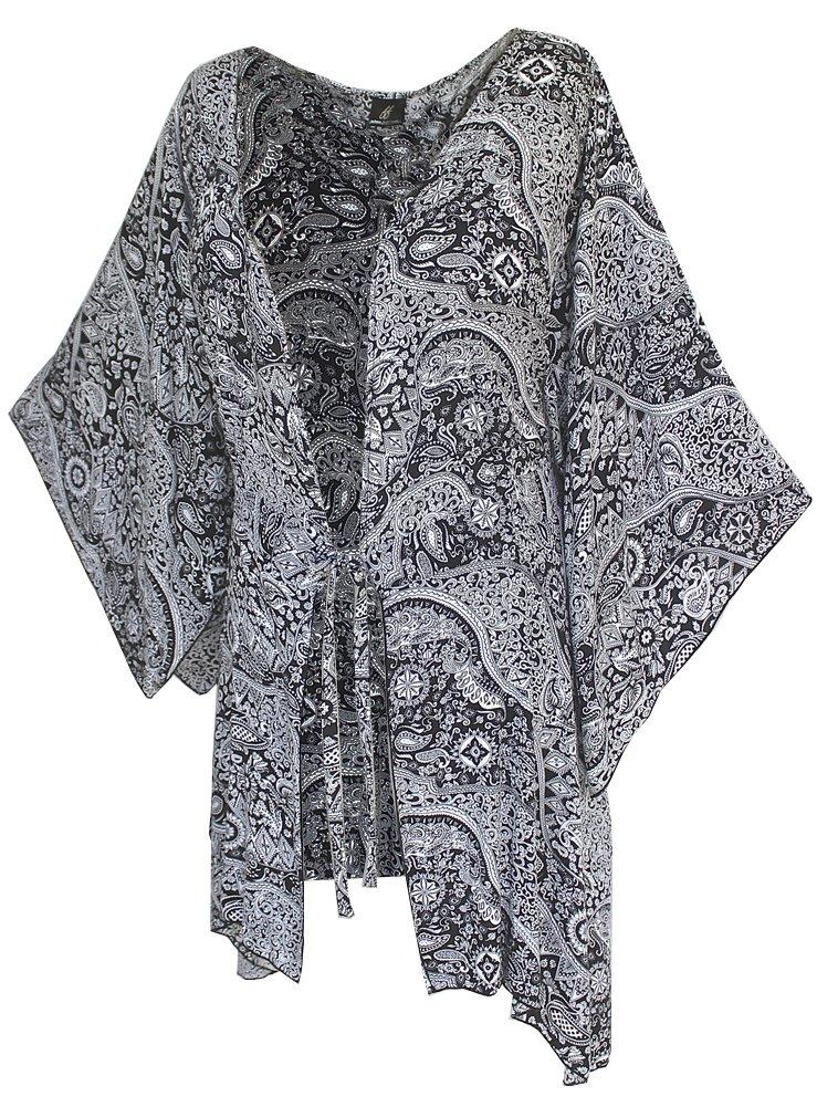 Fashion Fulfillment Womens Clothing Plus Size Kimono Tunic Cardigan, Kimono Sleeve, Plus Size 1X 2X 3X (One Size: 2X/3X, Black White Paisley) by Fashion Fulfillment (Image #5)