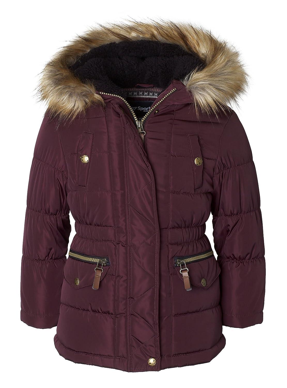 Sportoli Girls Fashion Winter Puffer Jacket Coat Sherpa Lined Fur Trim Hood