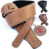 British Handmade Genuine Leather Guitar Strap: Ultra Soft Italian Leather