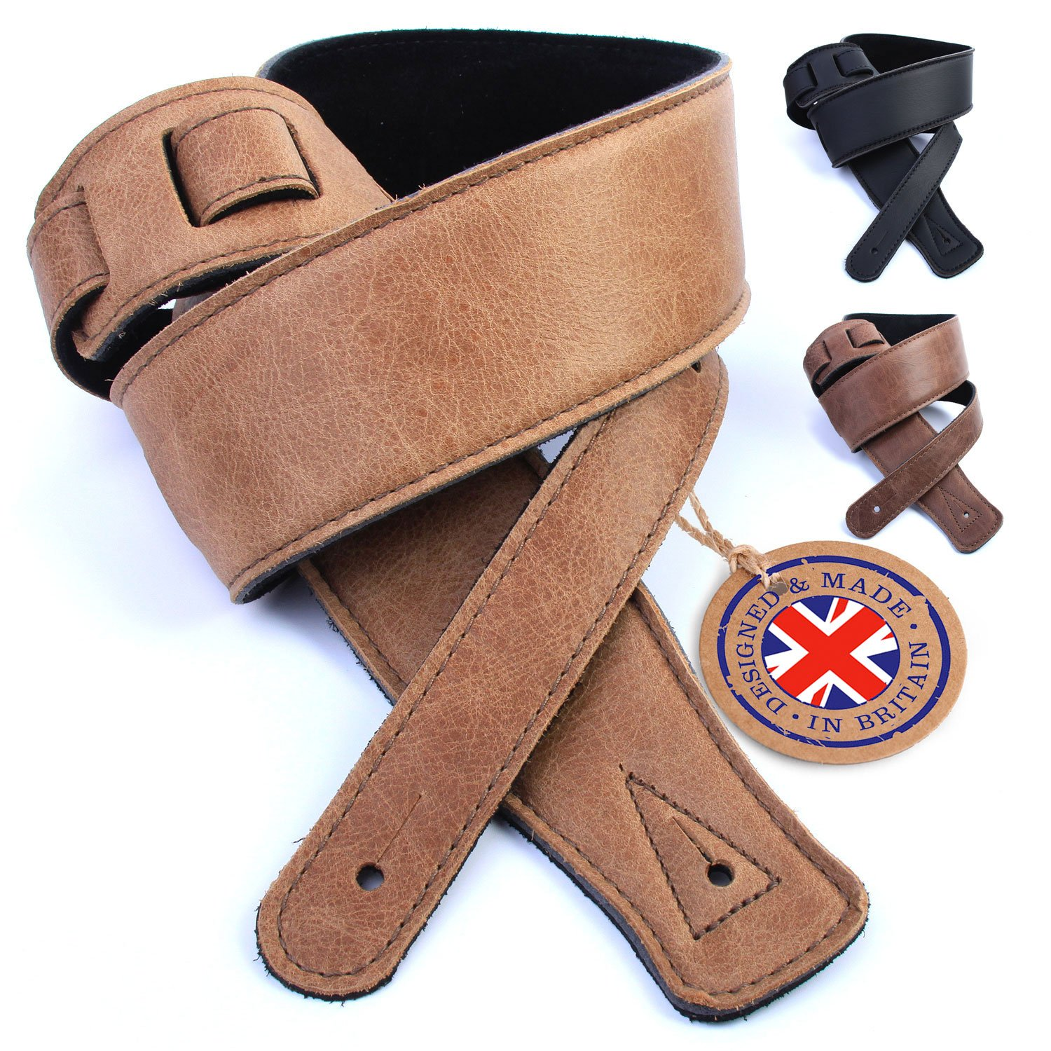 British Handmade Real Leather Guitar Strap: Finest Ultra Soft Italian Nappa Leather, 148cm long Foam Cushion Padded Guitar Belt - Suits Electric, Bass or Acoustic Instruments (inc Semi/Electro) Nordell