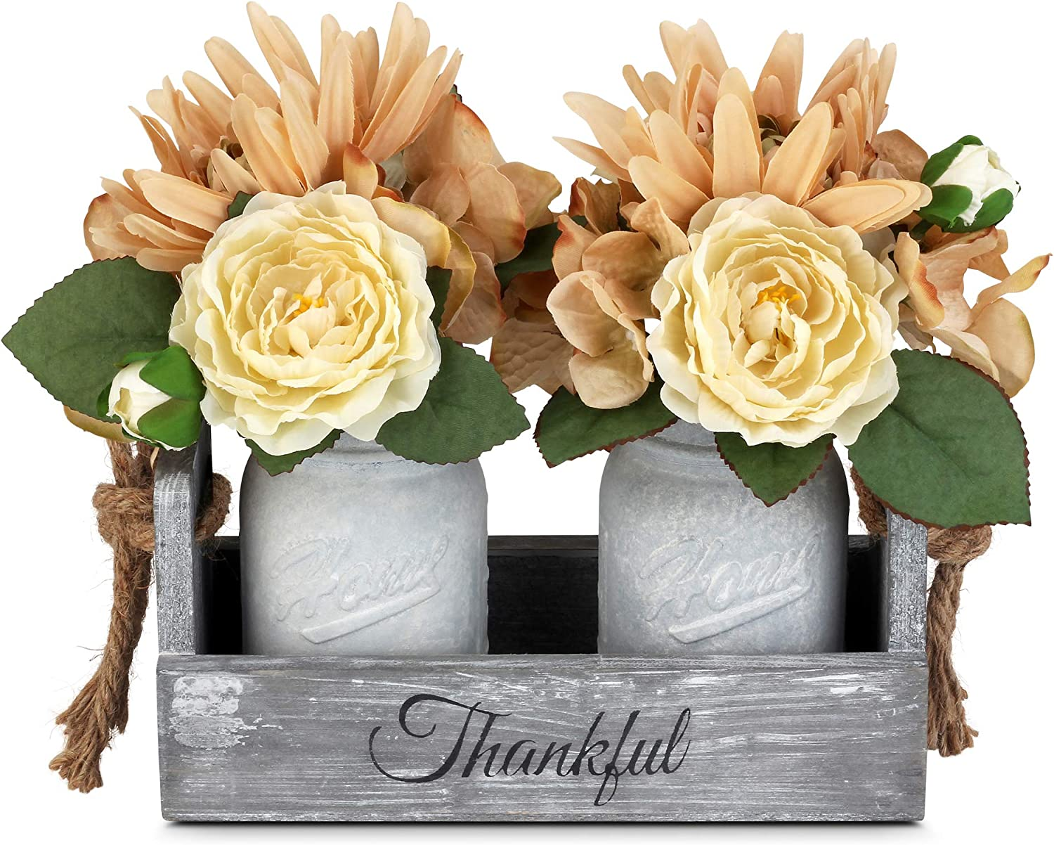 BeSuerte Decorative Mason Jar Centerpiece, Rustic Wood Tray Home Decor with 2 Mason Jars,Rose Bouquet Flowers for Dining Room,Living Room,Kitchen,Office,Coffee Table,Utensils Holder, White