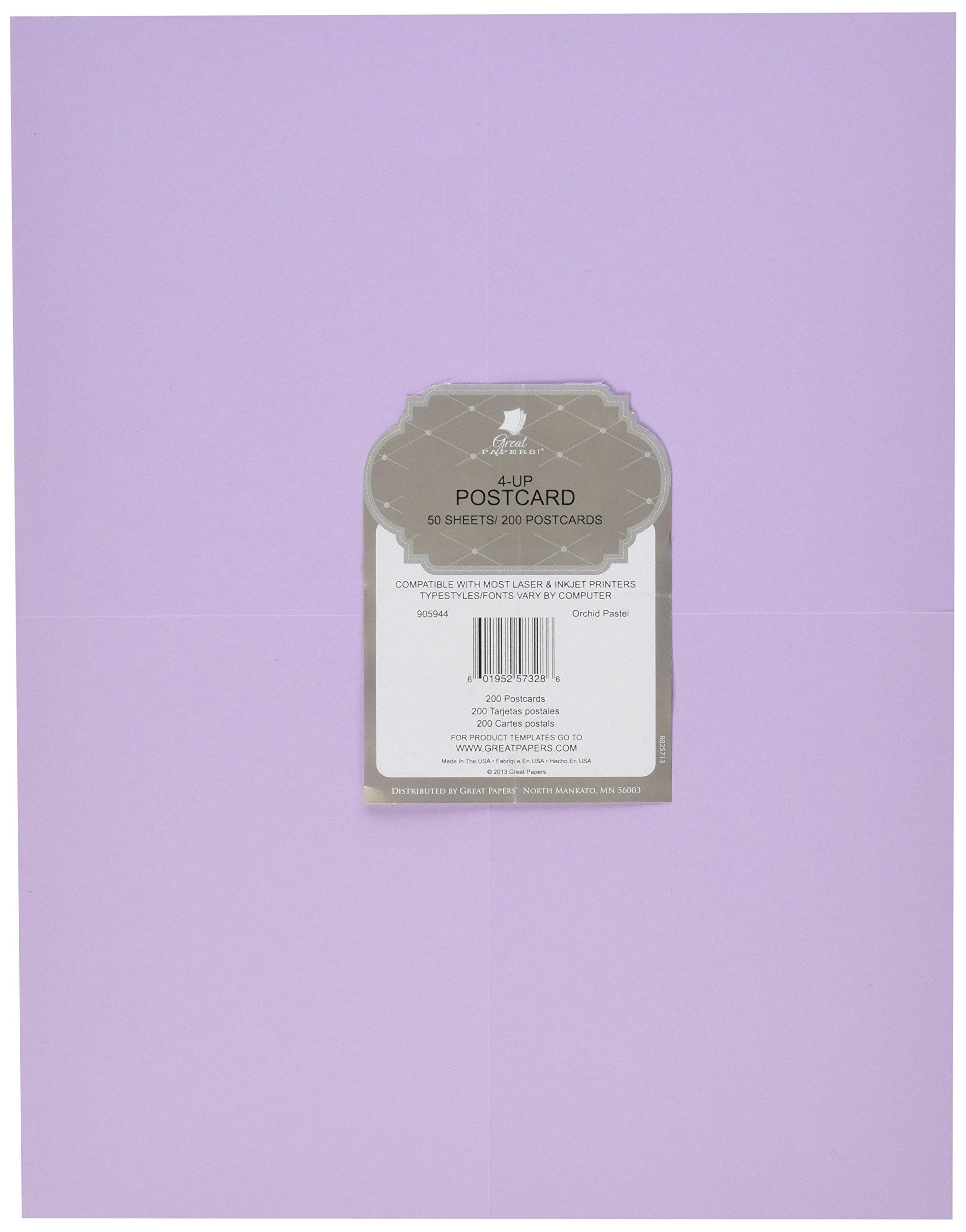 Great Papers! Orchid Pastel 4-Up Postcards,50 sheets/200 postcards, 5.5'' x 4.25''