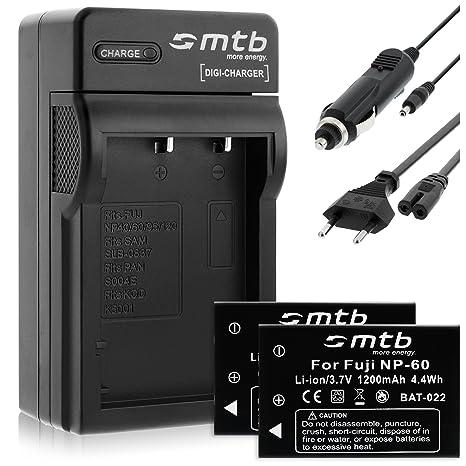 2 Baterìas + Cargador (Coche/Corriente) para Fuji NP-60 / Casio NP-30 / Drift HD 1080p / Toshiba BT3... - ver lista