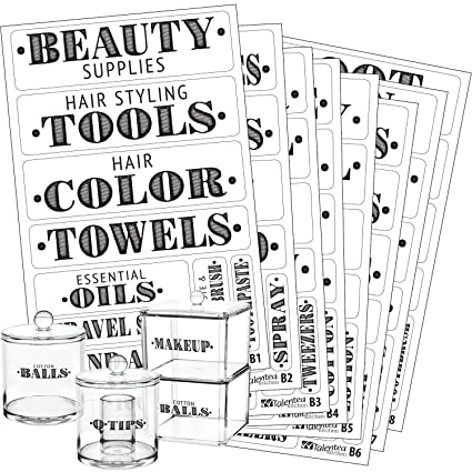 Bathroom Beauty Preprinted Labels Organization Set 72 Clear Pvc Stickers By Talented Kitchen 72 Water Resistant Label Set To Organize Bathroom