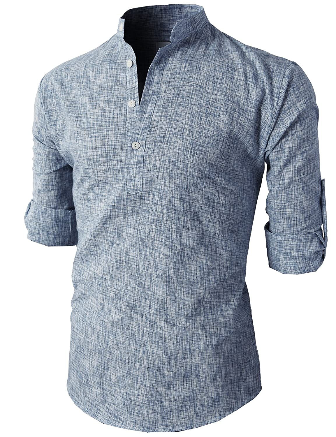 669d2fa8 H2H Mens Casual Slim Fit Shirts Henley Linen Shirts Roll up Long Sleeve at  Amazon Men's Clothing store: