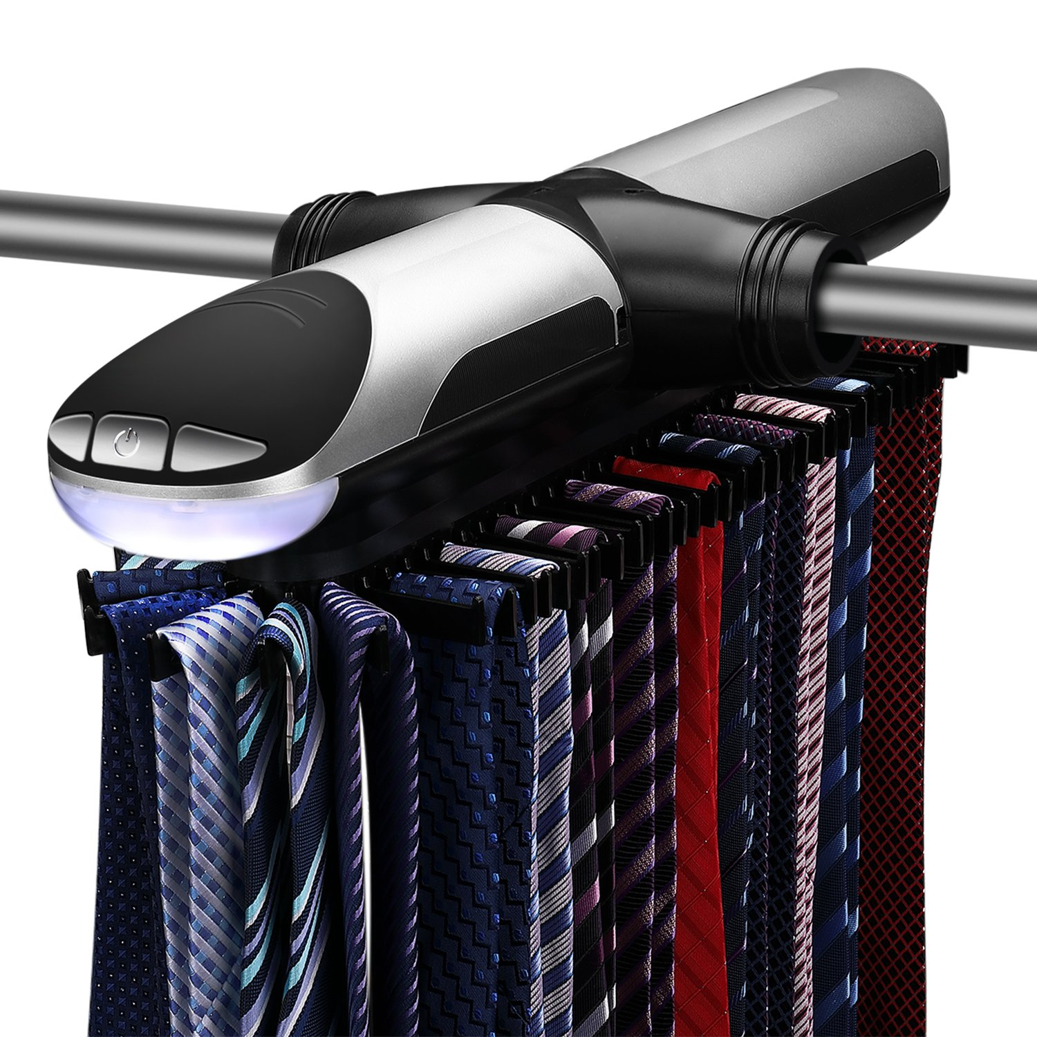 Flexzion Motorized Tie Rack - Electronic Rotating Automatic Necktie Tie Organizer Holder Stores Storage Displays Hanger Closet System For Men (72 Tie & 8 Belts) with Illuminate LED Lights by Flexzion