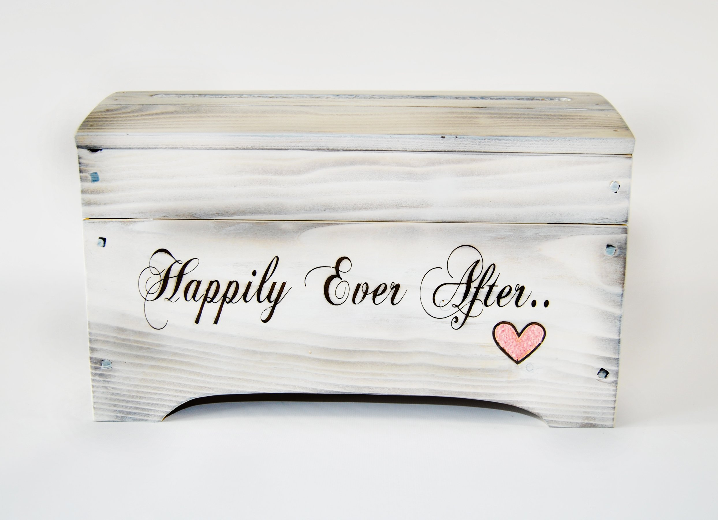 Large Wooden Shabby Chic Keepsake Memory Box - Wedding Card Box by Roxy Heart Vintage