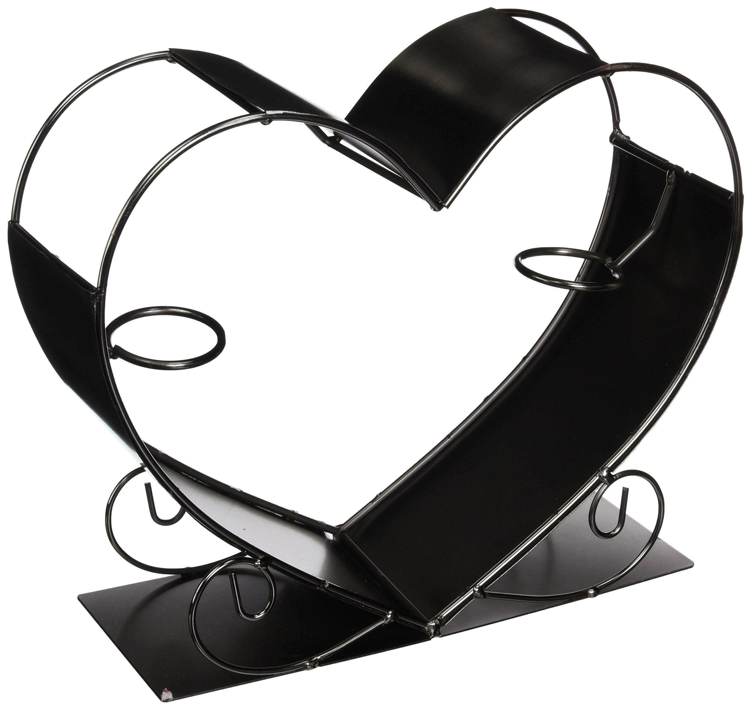 WINE BODIES ZB1190 Big Heart Metal Wine Bottle Holder, Charcoal by Wine Bodies