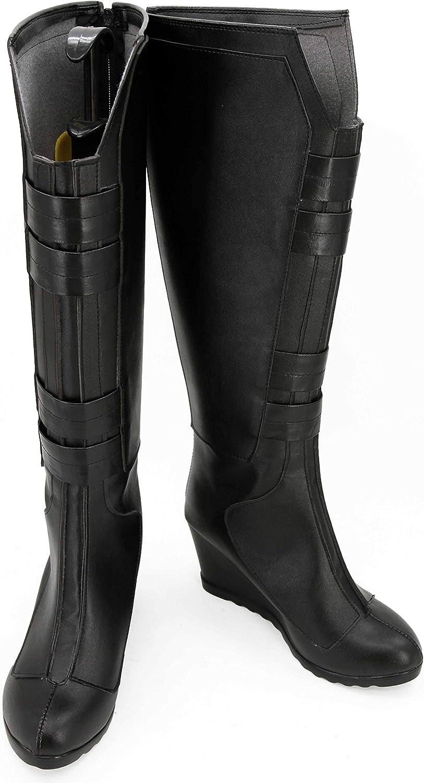 GOTEDDY Widow Natasha Boots Halloween Cosplay Black Knee High Shoes for Women
