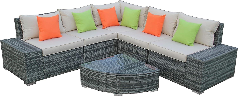 ALEKO Rattan Wicker Complete 6-Piece Indoor/Outdoor Sectional - Sunrise Set