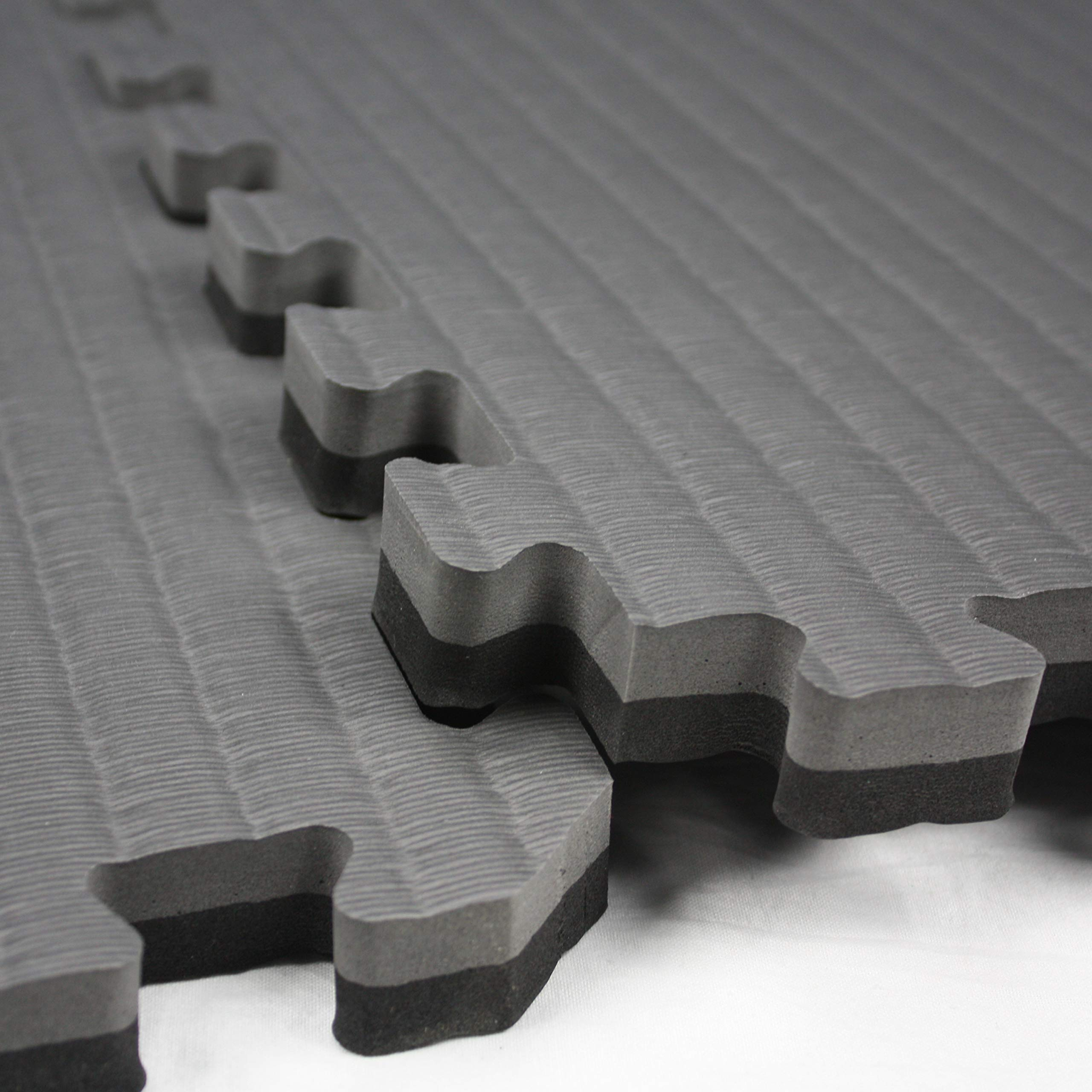 IncStores - Tatami Foam Tiles - Extra Thick mats Perfect for Martial Arts, MMA, Lightweight Home Gyms, p90x, Gymnastics, Yoga and Cardio (Black/Grey, 16 (3'x3') Tiles, 144 Sqft + Borders) by IncStores (Image #5)