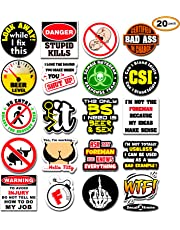 20-Pack Funny Hard Hat Stickers   Premium Quality Laminated Vinyl   Hilarious Joke Decal Sticker for Construction Worker Electrician Welder Carpenter Plumber Foreman   Great for Hardhat Toolbox Cooler Helmet Drinkware Coffee Mug by DecalXtreme