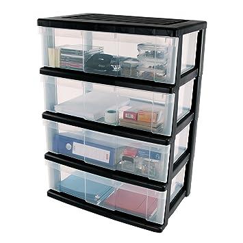 IRIS Cajón con Ruedas de plástico, en el Pecho de 4 cajones, contenedores Negro, Dresser 4 cajones, Armedietto con Ruedas, Armario de plástico gaveta ...