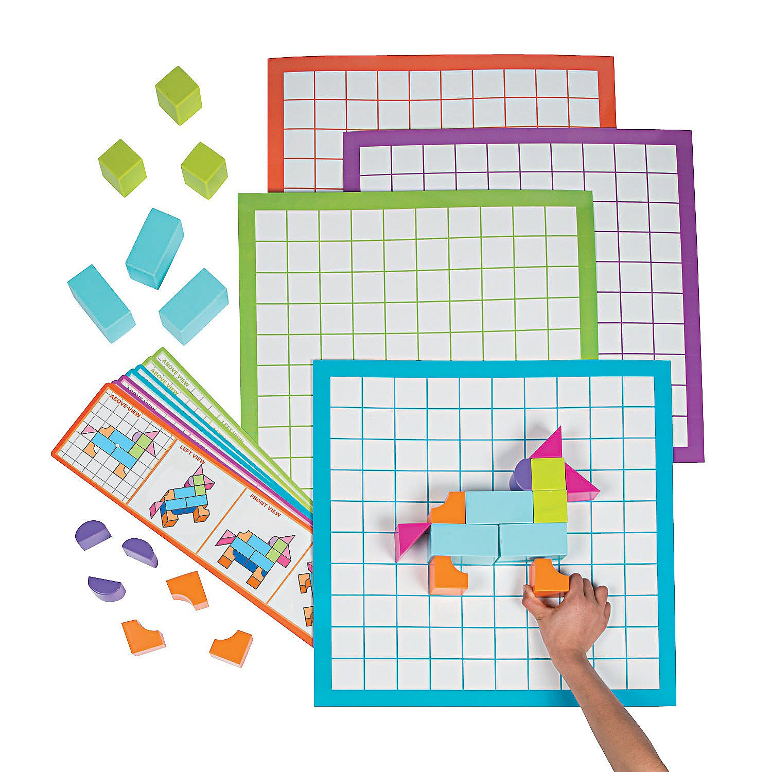 Fun Express - Junior Architect Blocks & Plans Set - Educational - Teaching Aids - Math - 179 Pieces by Fun Express