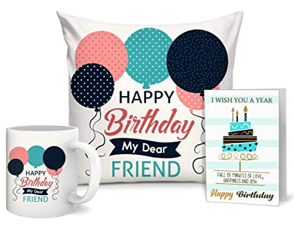Buy TIED RIBBONS Birthday Gift For Best Friend Combo Of Cushion Coffee Mug 330 Ml And Greeting Card Online At Low Prices In India