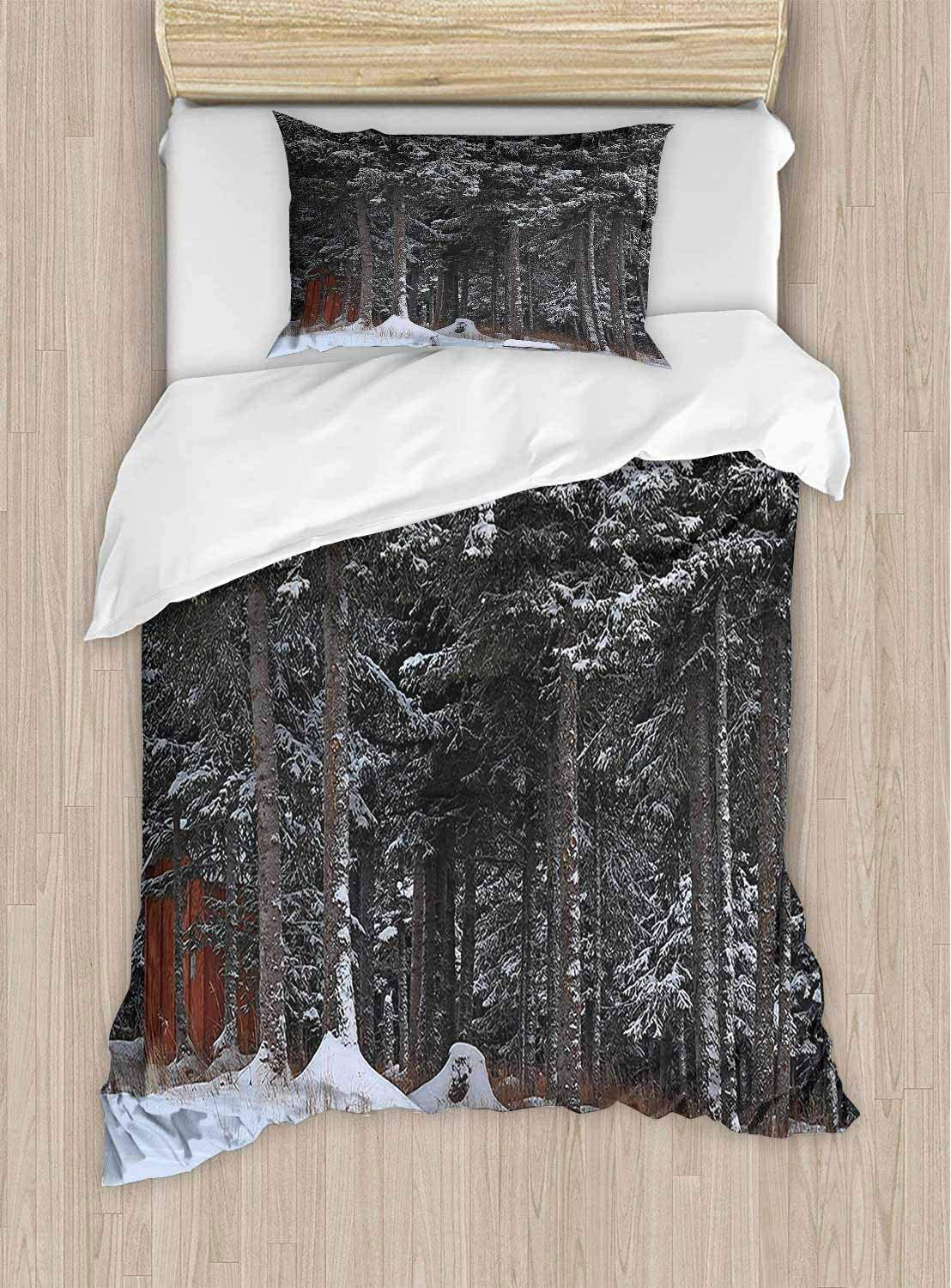 PRUNUSHOME Extra Soft Luxury Hotel Sheets in Snow Little Lumberjack Cottage Dark Green and White Long Durable X-Long Twin