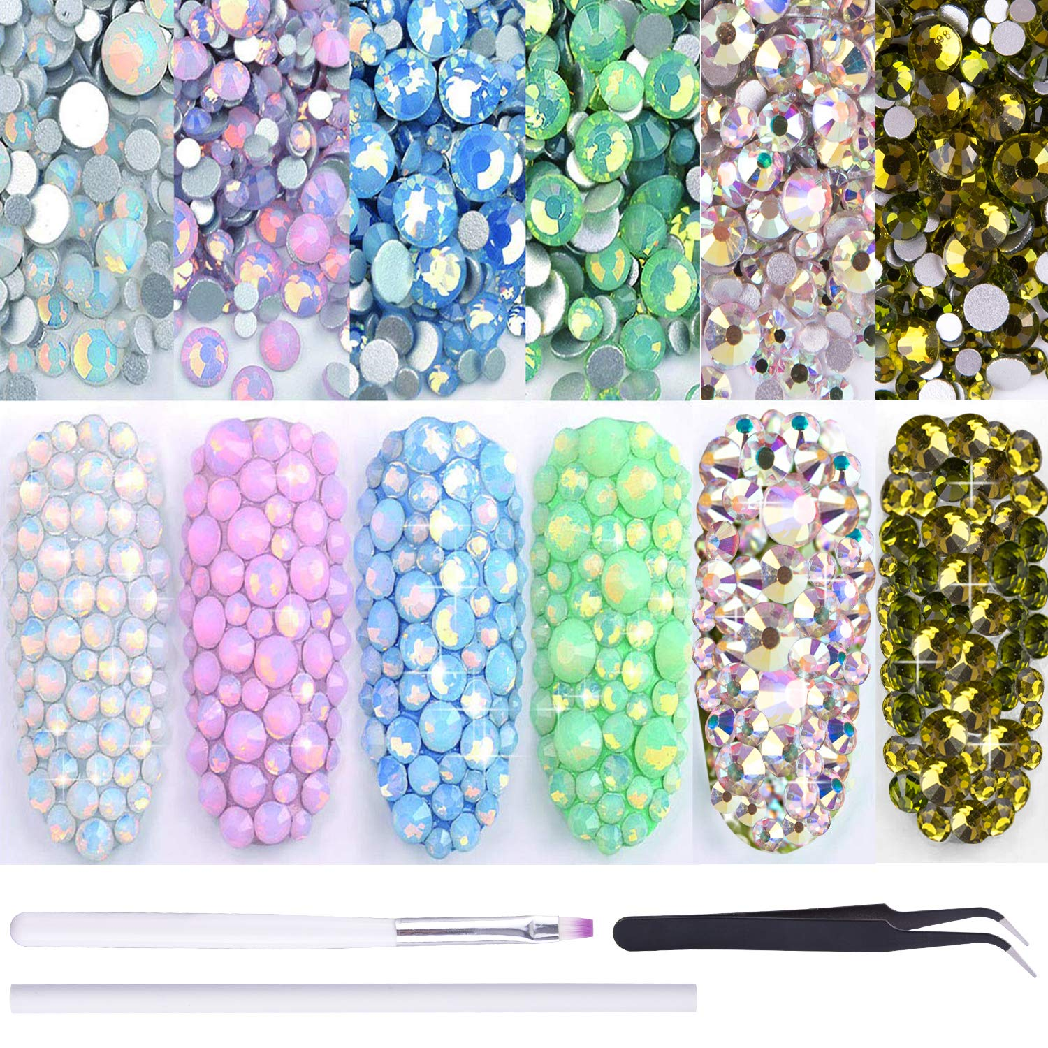 Duufin 6 Packs Opal Rhinestones Nails Art Crystal Rhinestone Nail Diamond Sparkly Nail Gems Flatback Nail Charms Stones Nail Art Decorations with 1 Pc Pick Up Tweezers and 1 Pc Brush Pen by Duufin