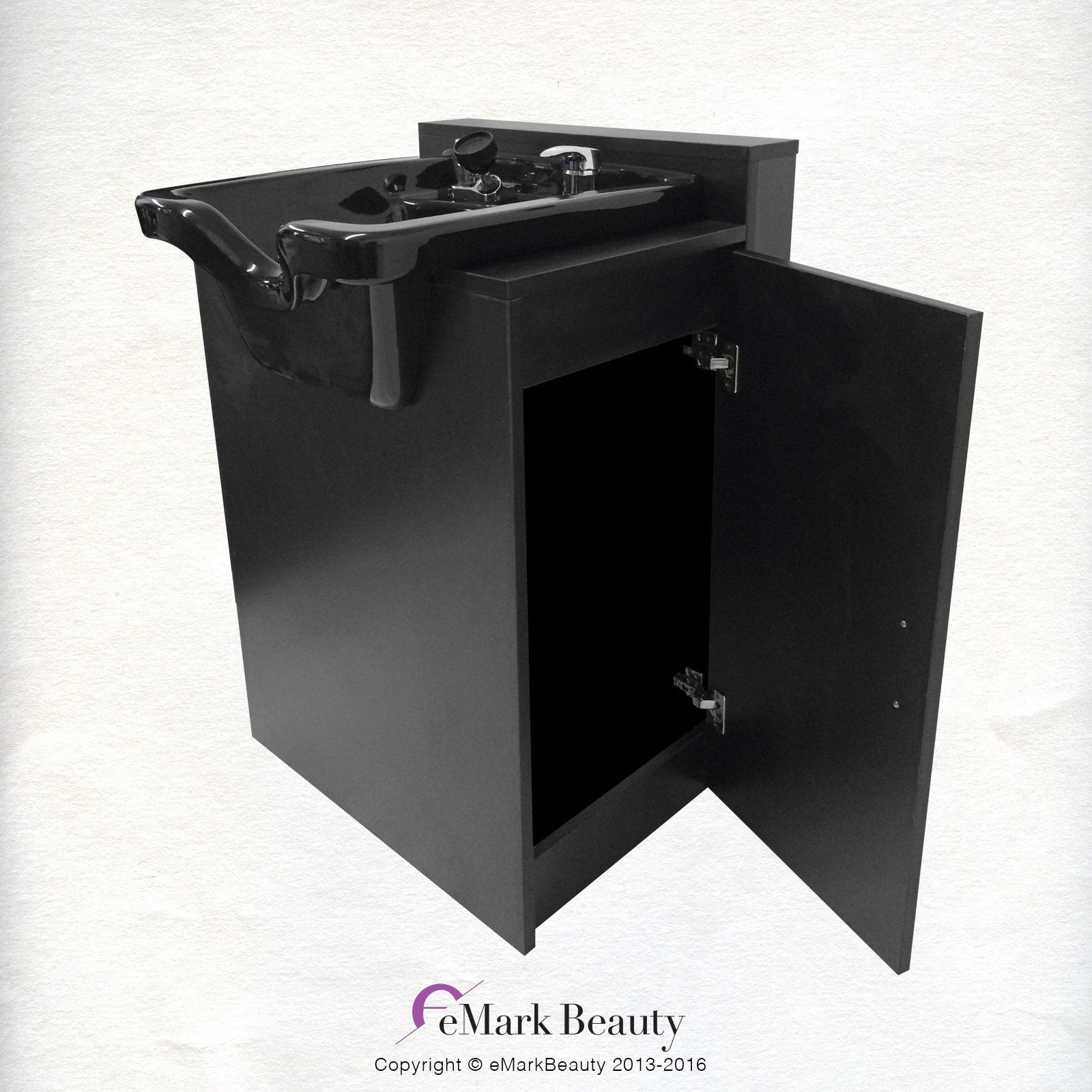 Black Square CERAMIC Beauty Salon Shampoo Bowl Floor Cabinet w/ Storage B41-B41C by Beauty Salon Shampoo Bowl